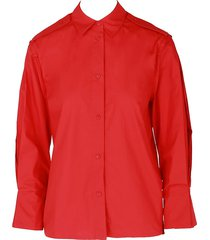maje women's pleated cotton shirt - red - size 3 (l)