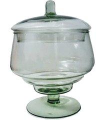 bomboniere com tampa baleiro em vidro 19x14cm - festas, buffet, hoteis - kanui