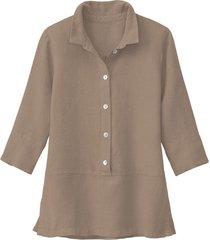 lichte linnen blouse, taupe 34