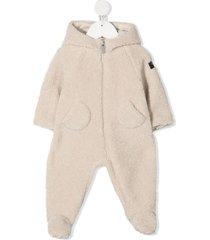 il gufo fleece-effect hooded romper - neutrals
