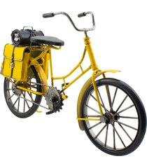 enfeite decorativo minas de presentes bicicleta amarelo