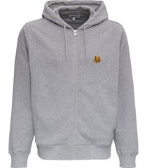 kenzo grey jersey hoodie with logo patch