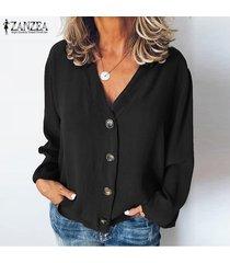 zanzea mujeres botones cuello en v camisa de las tapas ocasionales de las señoras de la blusa tops flojos llanura sólido más -negro