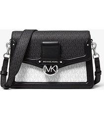 mk borsa a spalla jessie media con logo bicolore - combo bianco (bianco) - michael kors