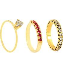kit 3pçs anel horus import dourado