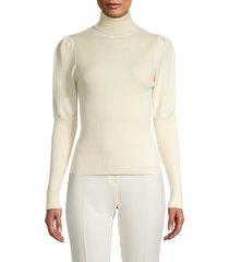 lucca women's puff-sleeve turtleneck sweater - cream - size l