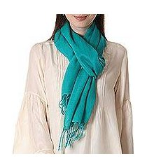 wool scarf, 'aqua warmth' (india)