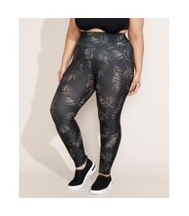 calça legging feminina plus size cintura super alta estampada de folhagem preta