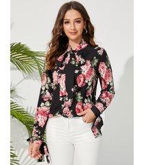 blusa con lazo en los puños con estampado floral al azar de yoins