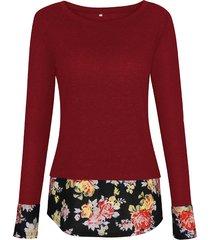 camicette da donna con scollo a fiori stampate patchwork floreali