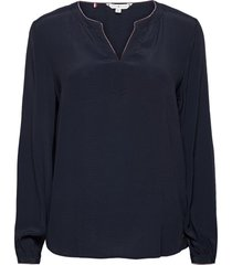 aelin v-neck ls blouse blus långärmad blå tommy hilfiger