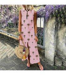 zanzea vestido sin mangas de verano con escote alto sin mangas para mujer vestidos de verano estampado floral tallas grandes -rosado