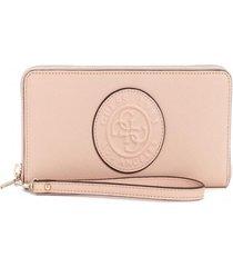 billetera celestine slg large zip around rosado guess