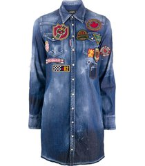 dsquared2 logo patch embossed shirt dress - blue