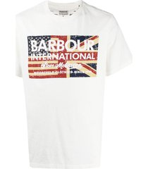 barbour distressed flag print t-shirt - white