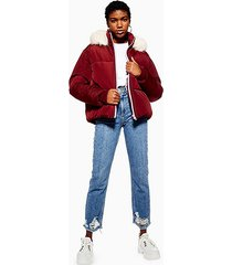 burgundy faux fur hooded puffer jacket - burgundy