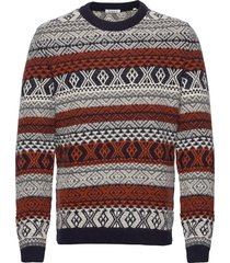 valley color jacquard knit - gots gebreide trui met ronde kraag multi/patroon knowledge cotton apparel