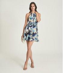 reiss belle - printed ruffle mini dress in blue, womens, size 14
