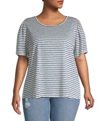 b collection by bobeau women's plus tilda puff-sleeve t-shirt - black stripe - size 3x (22-24)