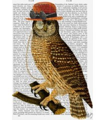 "fab funky owl with steampunk style bowler hat canvas art - 19.5"" x 26"""