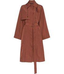 joseph dublin belted taffeta trench coat - brown