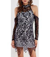 detalles de encaje negro mangas largas con hombros descubiertos sexy vestido