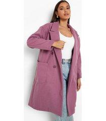 nepwollen jas met dubbele knopen en zak detail, lilac