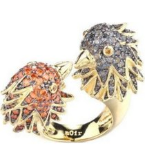 noir multi-colored cubic zirconia bird cocktail ring
