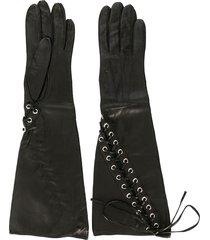 manokhi lace-up gloves - black