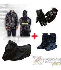 impermeable + pijama para moto + zapatones + guantes pro biker