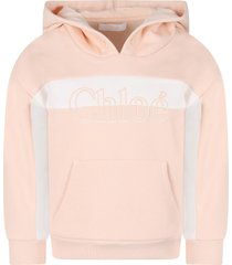 chloé pink sweatshirt for girl with logo