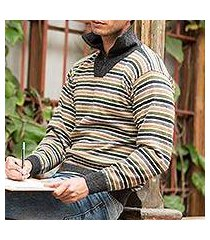 men's 100% alpaca pullover sweater, 'dark grey heights' (peru)