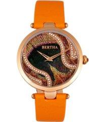 bertha quartz trisha collection orange leather watch 39mm