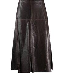 arma high-waisted leather midi skirt - brown