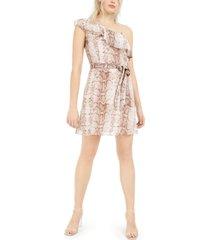 bar iii ruffled one-shoulder snake-print mini dress, created for macy's