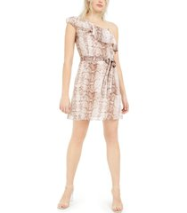 bar iii ruffled one-shoulder snake-print mini dress, created for macy's