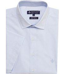 camisa dudalina manga curta fio tinto maquinetada masculina (branco, 6)