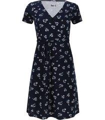 vestido m/c estampado flores color azul, talla 6