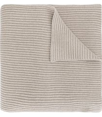 jil sander ribbed knit scarf - brown
