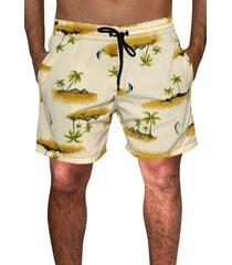 shorts praia   estampado ks microfibra com elastano bolsos laterais  ref.095.5 marrom