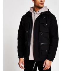 river island mens black hooded utility jacket