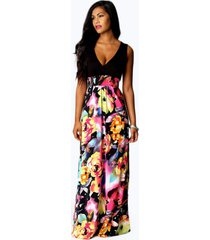 petite kiera rose print maxi dress, black