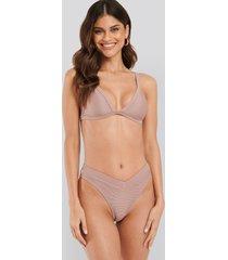 na-kd swimwear ribbed v shape bikini bottom - pink
