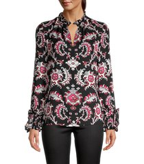 kobi halperin women's printed silk blouse - black multi - size m