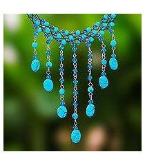 beaded choker, 'blue rain shower' (thailand)