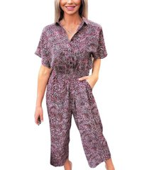 ax paris printed button up jumpsuit