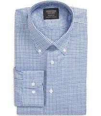 men's big & tall nordstrom men's shop smartcare(tm) traditional fit check dress shirt, size 16.5 - 36/37 - blue