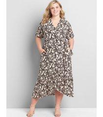 lane bryant women's printed faux-wrap midi dress 10/12 cheetah print