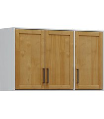 armário aéreo 3 portas finestra linha cristal cor cinza/ carvalho