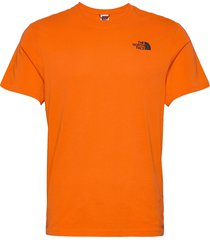 m s/s red box tee t-shirts short-sleeved orange the north face